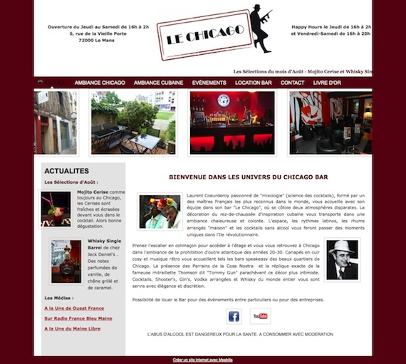 Aperçu du site Le Chicago Bar