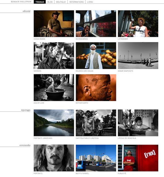 Aperçu du site du photographe romain Philippon